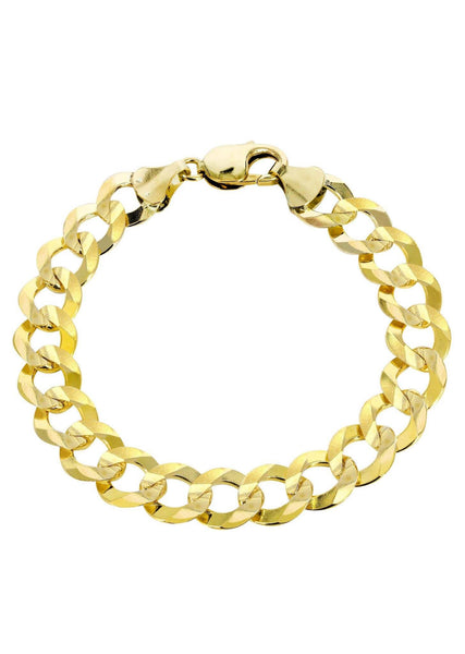 Solid Mens Cuban Link Bracelet 10K Yellow Gold