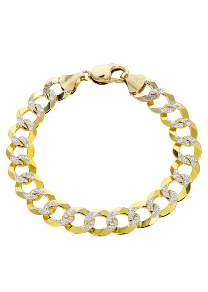 Hollow Mens Diamond Cut Cuban Bracelet 10K Yellow Gold