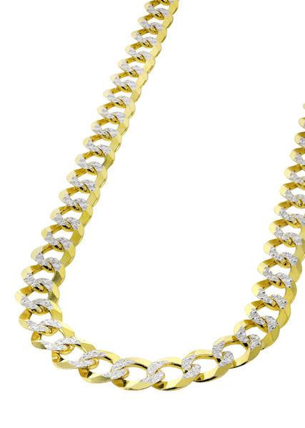Gold Chain - Hollow Diamond Cut Mens Cuban Link Chain 10K Gold