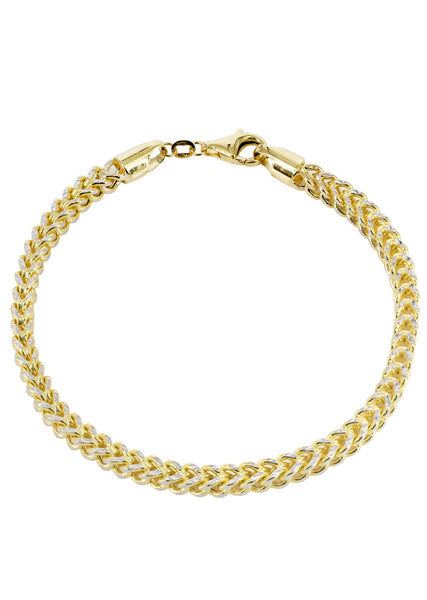 Hollow Mens Diamond Cut Franco Bracelet 10K Yellow Gold