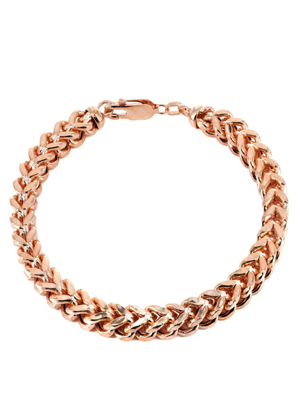 14K Rose Gold Bracelet Hollow Franco