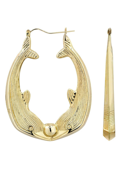 10K Gold Dolphin Hoop Earrings | Customizable Size