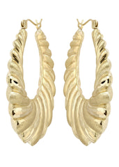 10K Gold Shrimp Hoop Earrings | Diameter 1.5 Inches Gold Hoop Earrings FROST NYC
