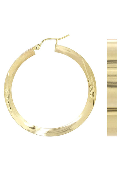 10K Gold Diamond Cut Hoop Earrings | Customizable Size