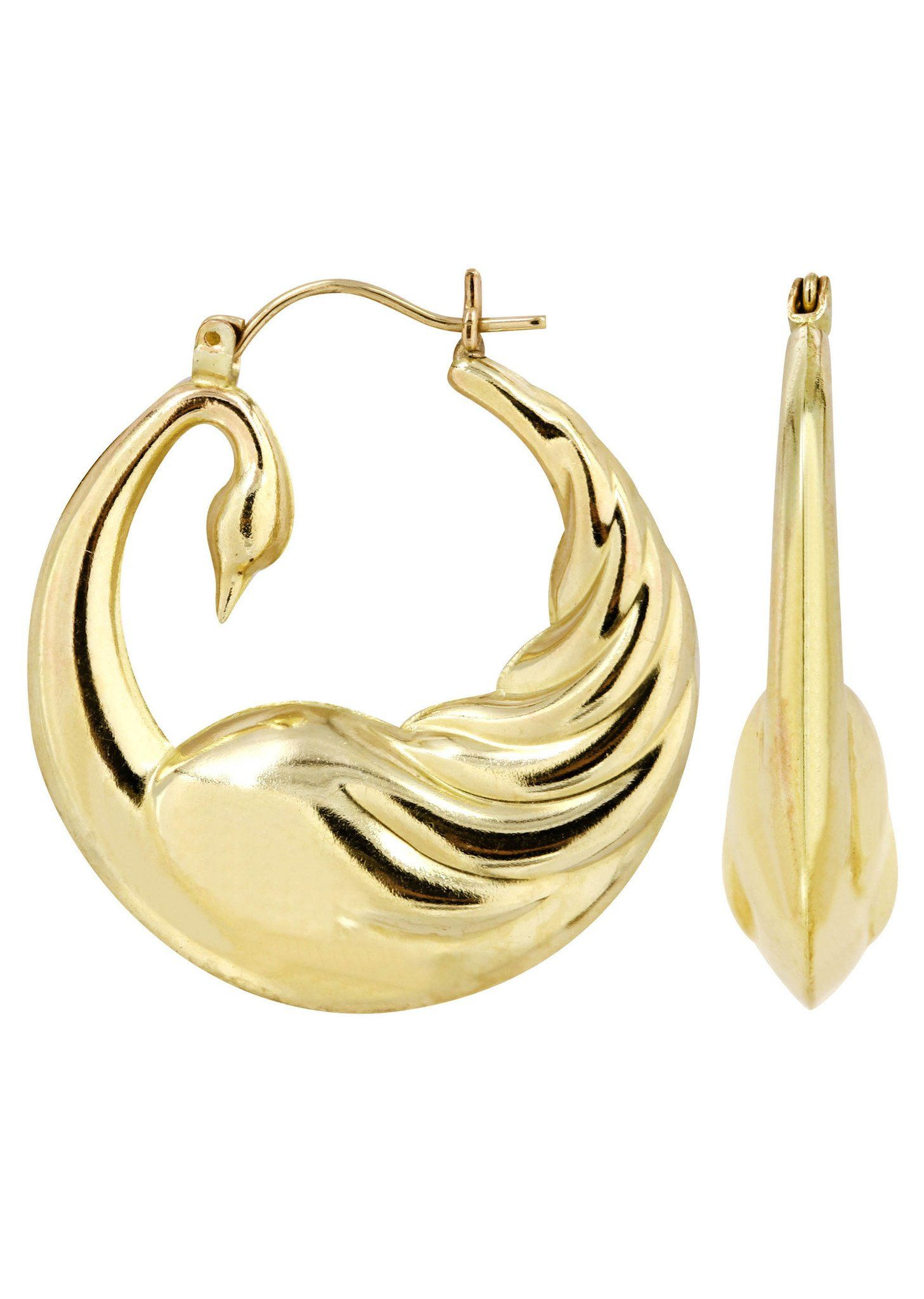 10K Gold Swan Hoop Earrings