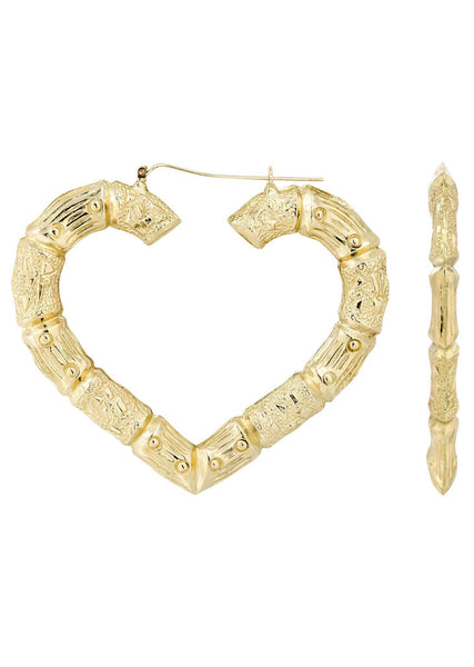10K Gold Heart Bamboo Hoop Earrings | Customizable Size