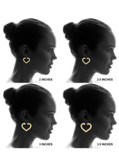 10K Gold Heart Bamboo Hoop Earrings | Customizable Size Gold Hoop Earrings FROST NYC