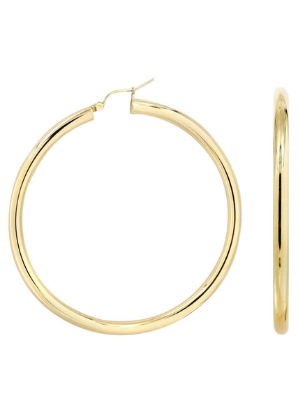 10K Gold Plain Hoop Hoop Earrings | Customizable Size