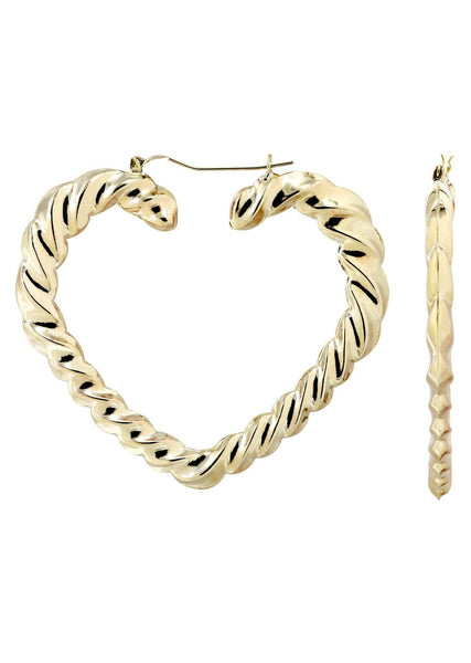 10K Gold Heart Hoop Earrings | Diameter 2.75 Inches