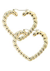 10K Gold Heart Hoop Earrings | Diameter 2.75 Inches Gold Hoop Earrings FROST NYC