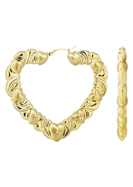 10K Gold Heart Hoop Earrings | Diameter 3 Inches