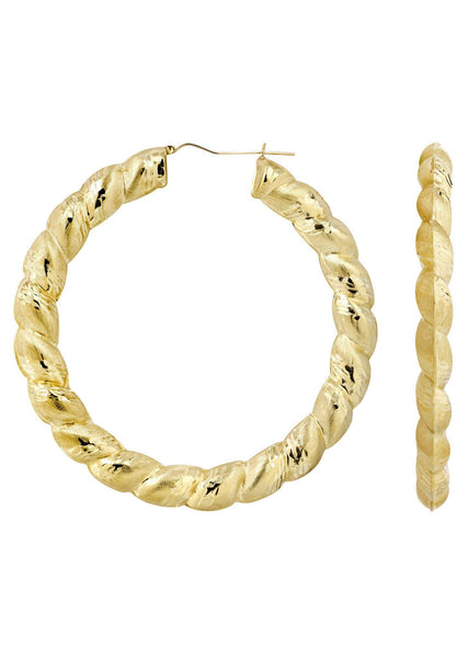 10K Gold Hoop Earrings | Customizable Size