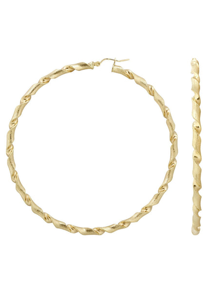10K Gold Twisted Hoop Earrings | Diameter 3 Inches