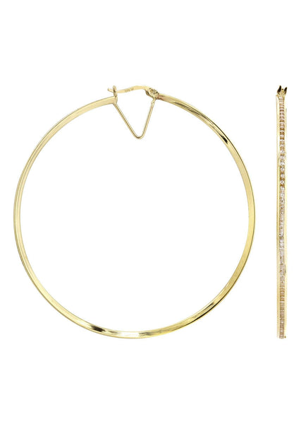 10K Gold Hoop Earrings | Diameter 2.25 Inches