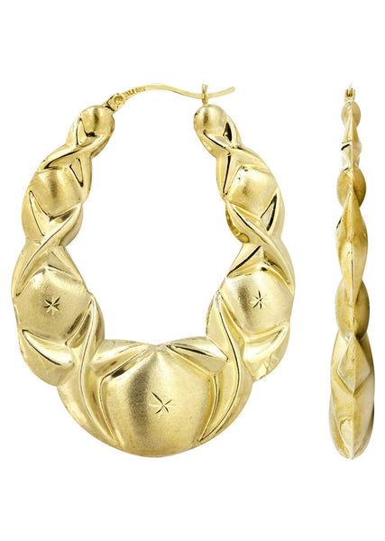 10K Gold Xo Hoop Earrings | Diameter 2 Inches