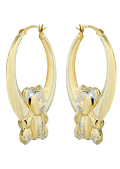 10K Gold Bear Hoop Earrings | Diameter 1.5 Inches