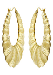 10K Gold Shrimp Diamond Cut Hoop Earrings | Diameter 1.75 Inches Gold Hoop Earrings FROST NYC