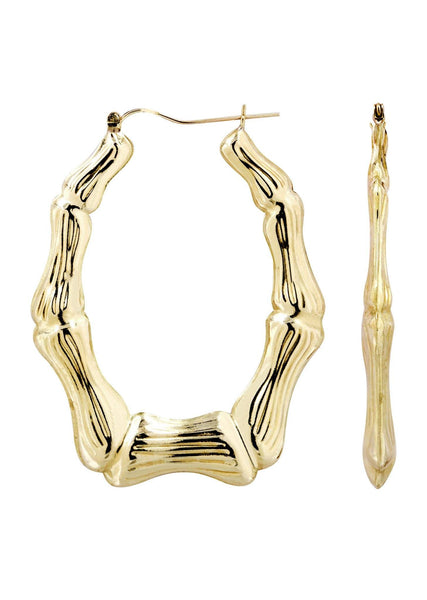 10K Gold Bamboo Hoop Earrings | Customizable Size