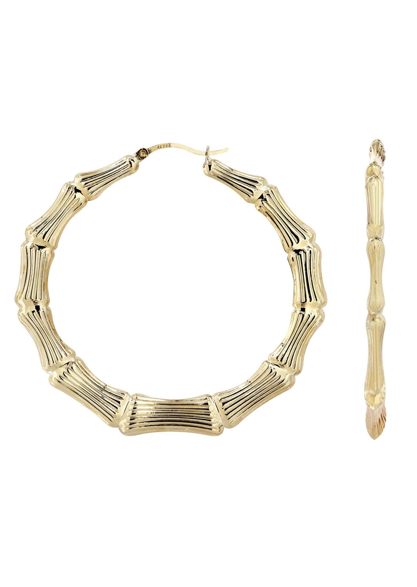 10K Gold Bamboo Hoop Earrings
