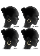 10K Gold Bamboo Hoop Earrings | Customizable Size Gold Hoop Earrings FROST NYC