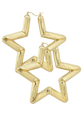10K Gold Star Hoop Earrings | Customizable Size