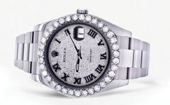 Rolex Datejust II Watch | 41 MM | Custom Diamond Pave Roman Dial | Oyster Band CUSTOM ROLEX FrostNYC