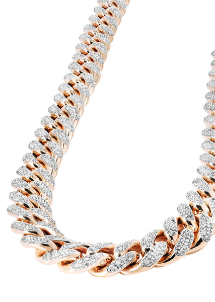 Rose Gold Iced Out Diamond Miami Cuban Link Chain Customizable (10MM-20MM)