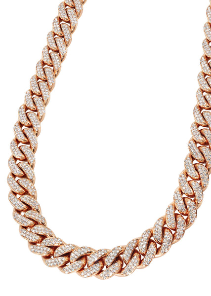 Iced Out Diamond Miami Cuban Link Chain 14K Rose Gold (5MM-8MM)