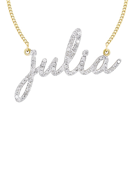 14K Gold Ladies Full Diamond Script Name Necklace | Appx. 1.25 Carat
