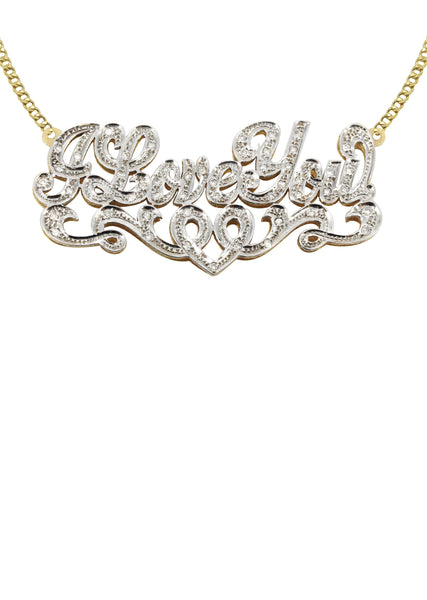14K Ladies Diamond Cut with Diamonds Name Plate Necklace | Appx. 13.3 Grams