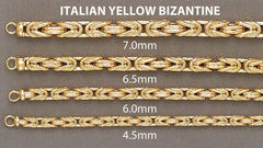 Mens Italian Bizantine Chain 10K Yellow Gold