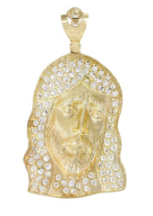 Big Jesus Piece & Cz 10K Yellow Gold Pendant. | 15.3 Grams MEN'S PENDANTS FROST NYC