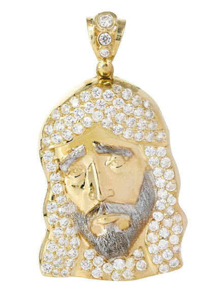 Big Jesus Piece & Cz 10K Yellow Gold Pendant.  |  15.3 Grams