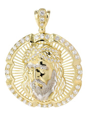 Big Jesus Piece & Cz 10K Yellow Gold Pendant.  |  18.7 Grams