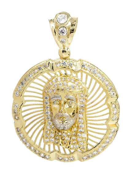 Big Jesus Piece & Cz 10K Yellow Gold Pendant.  |  10.4 Grams