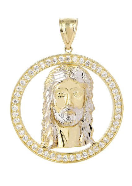 Big Jesus Piece & Cz 10K Yellow Gold Pendant.  |  8.4 Grams