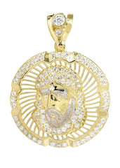Big Jesus Piece & Cz 10K Yellow Gold Pendant. | 6.9 Grams MEN'S PENDANTS FROST NYC