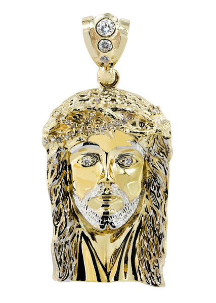 Big Jesus & Cz 10K Yellow Gold Pendant.  |  37.9 Grams