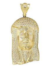 Big Jesus Piece & Cz 10K Yellow Gold Pendant.  |  42.1 Grams