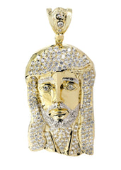 Big Jesus Piece & Cz 10K Yellow Gold Pendant. | 42.1 Grams MEN'S PENDANTS FROST NYC