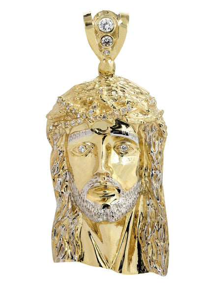 Big Jesus Piece & Cz 10K Yellow Gold Pendant.  |  53.9 Grams