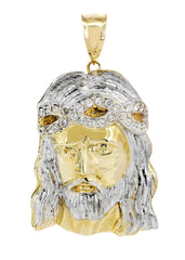 Big Jesus Piece & Cz 10K Yellow Gold Pendant. | 59.2 Grams MEN'S PENDANTS FROST NYC