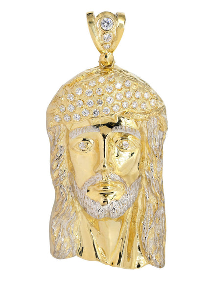 Big Jesus Piece & Cz 10K Yellow Gold Pendant.  |  68.2 Grams