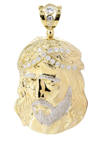 Big Jesus Piece & Cz 10K Yellow Gold Pendant.  |  75.5 Grams