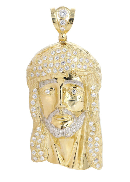 Big Jesus Piece & Cz 10K Yellow Gold Pendant.  |  111.6 Grams