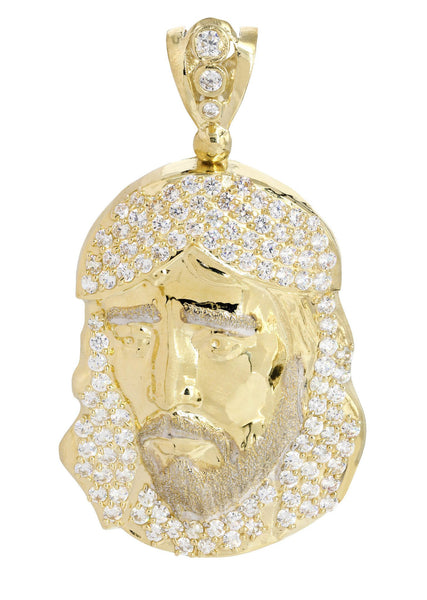 Big Jesus Piece & Cz 10K Yellow Gold Pendant.  |  17.1 Grams