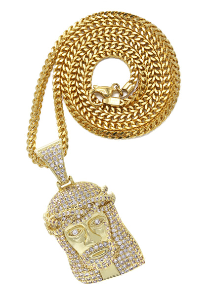 Gold Plated Franco Link Chain & Jesus Head Pendant | Appx. 14.8 Grams
