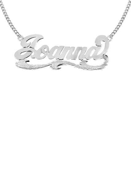 14K Ladies White Gold Diamond Cut Name Plate Necklace | Appx. 7.2 Grams