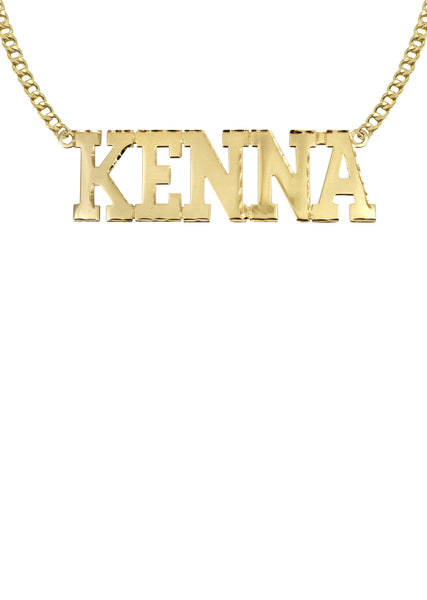 14K Ladies Diamond Cut Name Plate Necklace | Appx. 7.3 Grams