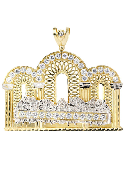 Big Last Supper & Cz 10K Yellow Gold Pendant.  |  53.9 Grams
